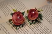 Kvetinové náušnice ružové pivonky,