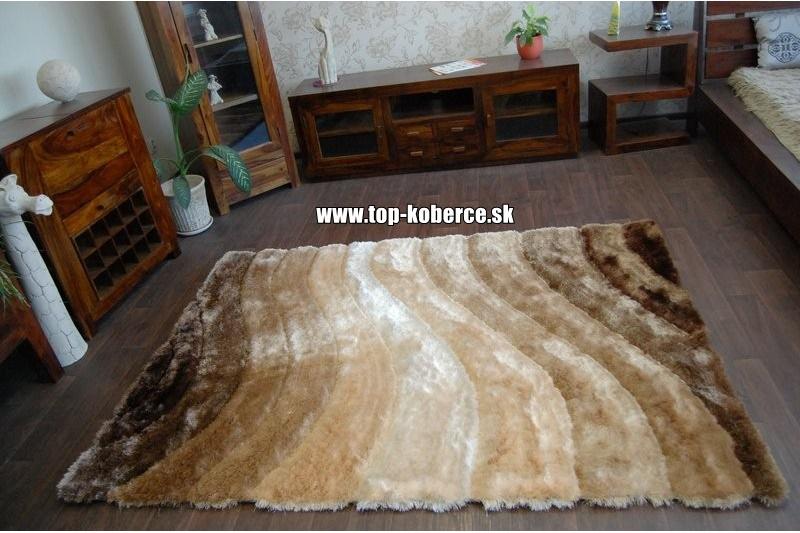 3D hnedý shaggy koberec - 120x170cm - Obrázok č. 1