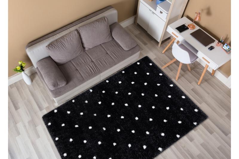 Bodkovaný shaggy koberec - čierny/biely - Obrázok č. 1