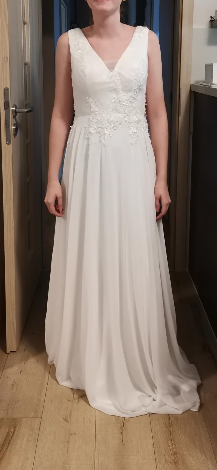 biele šaty vhodné aj ako popolnočné  - Obrázok č. 1