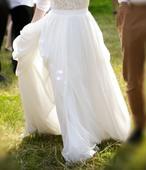 Svatební sukně s krajkovými uplými minišaty, 38
