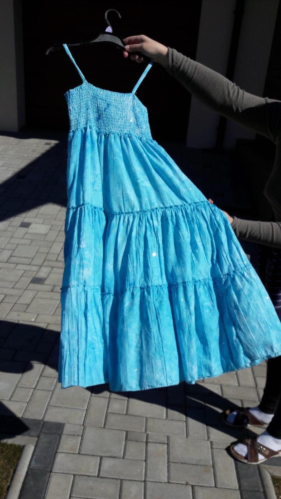 Svetlomodré batikované šaty   - Obrázok č. 1