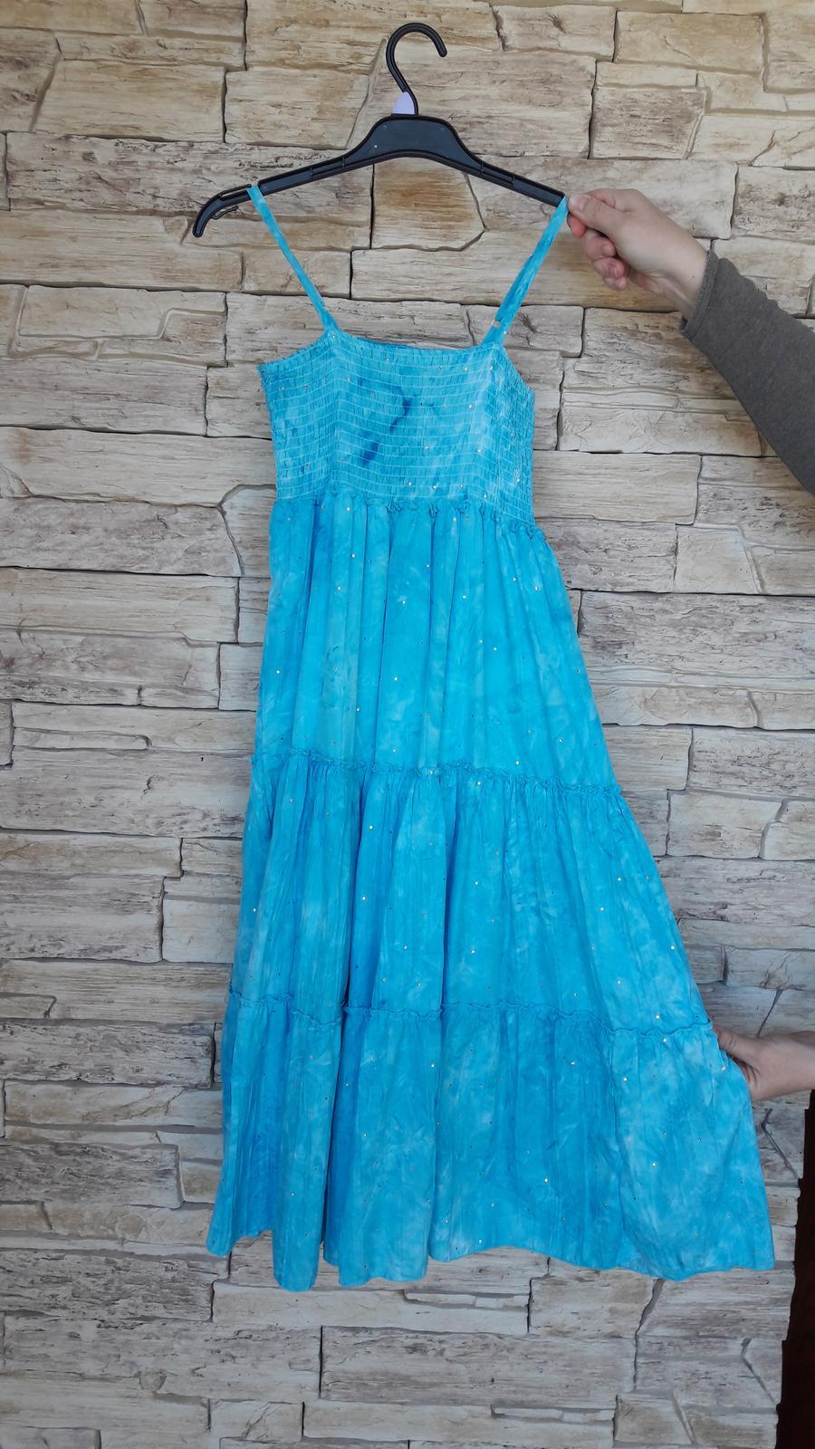 Svetlomodré batikované šaty   - Obrázok č. 2