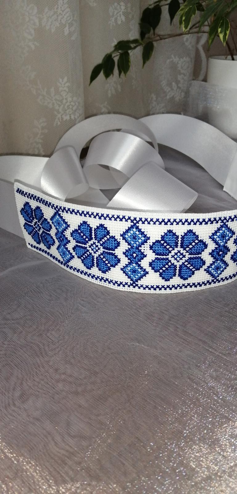 Svadobný opasok vyšívaný folklór modrý - Obrázok č. 1