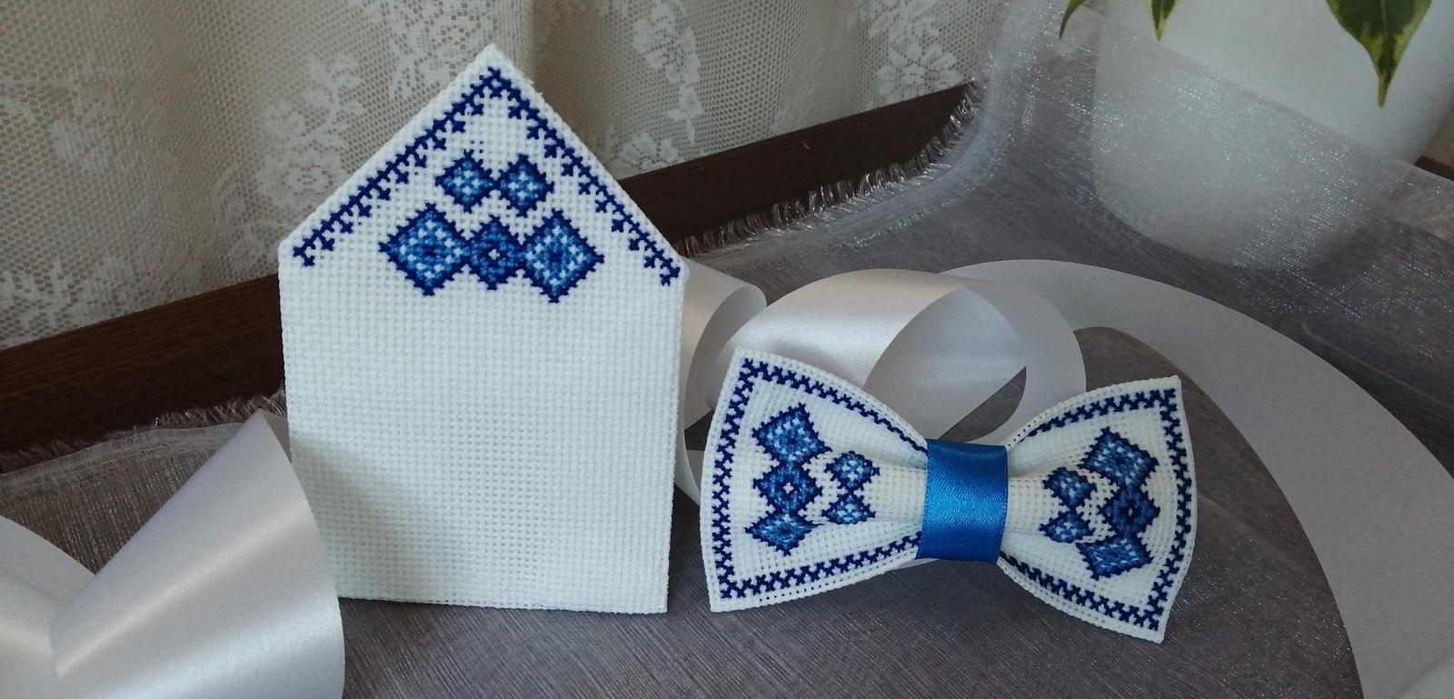 Svadobný motýlik, vreckovka do saka v modrom - Obrázok č. 1