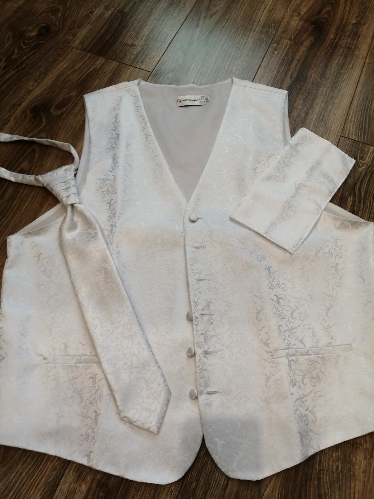Pánska svadobná vesta XL, kravata a vreckovka - Obrázok č. 1