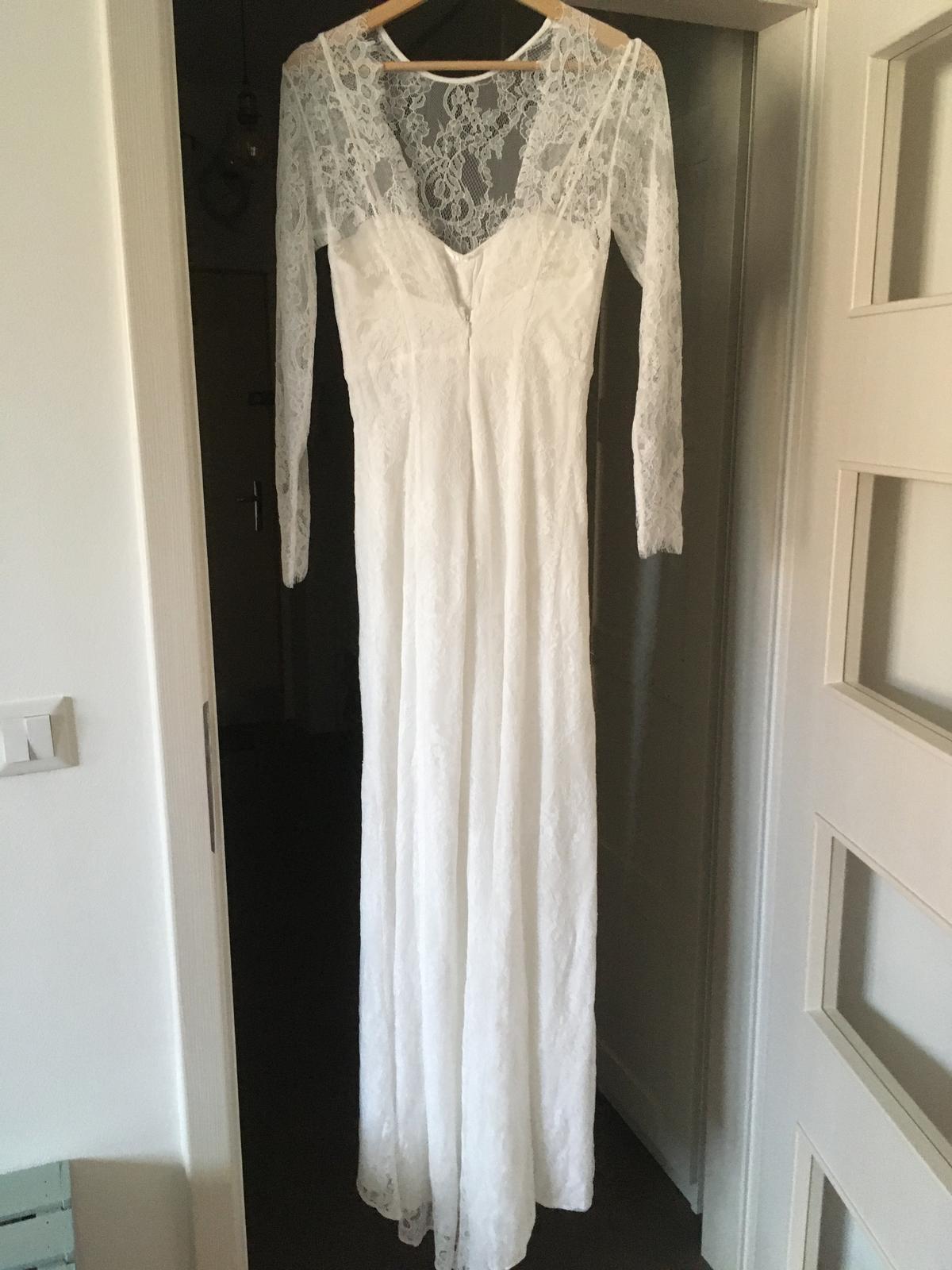 Svatební šaty s odhalenými zády, vel. 36, nenošené - Obrázek č. 3