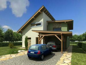 V pôvodnom návrhu bola garáž. Kvôli  umiestneniu domu na pozemku vzhľadom k hraničnej čiare je  prístrešok.Či tam zostane uvidíme, keď bude dom reálne stáť.