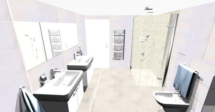 Nový domov II - návrh č.1 kupelne,ten istý obklad