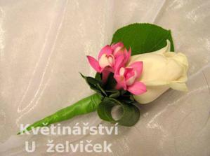 korsáž - bílo-růžová