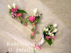 korsáž - bílo-růžová jiná