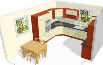 Vítězný návrh kuchyně (bude pravděpodobně v barvách ořech nebo wenge - vanilka nebo slonová kost, ještě máme čas to dořešit)