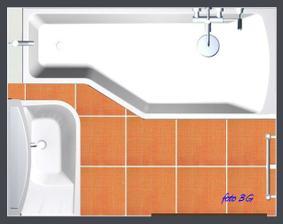 vizualizacie s vybratým obkladom, dlažbou, vaňou, radiátorom a sprchou
