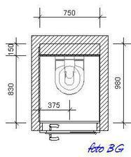 pôdorys hádam najmenšieho wc - bežný jav panelákových sídlisk zo 60. rokov min. stor.