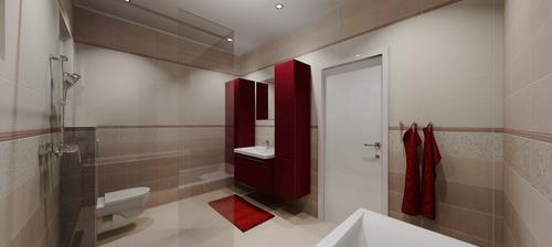 Vizualizace koupelny - pohled z vany