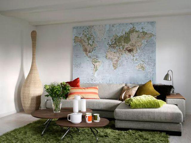 Obývák... inspirace - to je něco pro mého muže... mapa na stěně :))