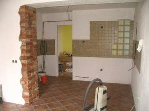 příčka v kuchyni +  dlažba