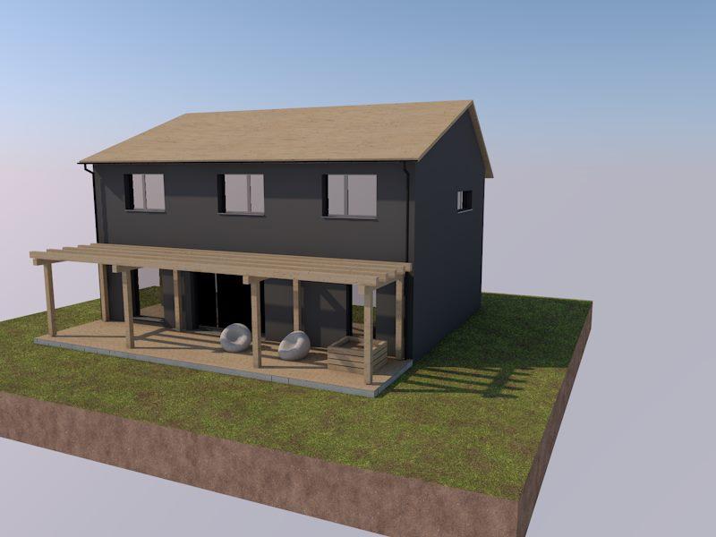 Pasivní domeček - Studie dle mého návrhu hotova :) dům bude mít i asymetrickou střechu