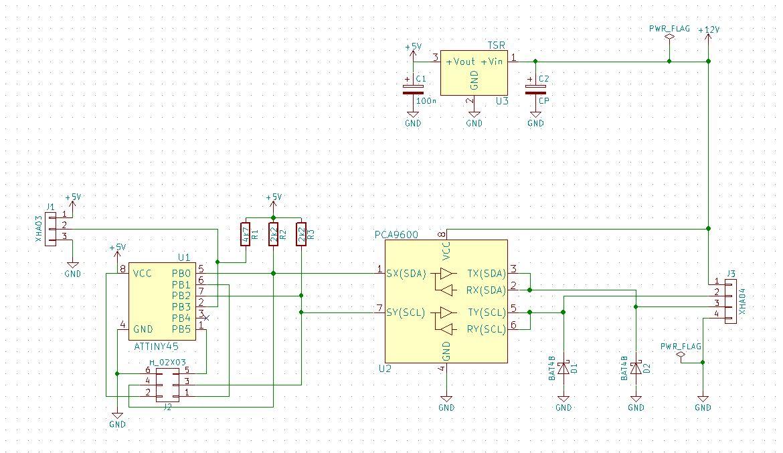 LogomatIQ - schema modulu merania teploty je takmer zhodna s meranim prietoku, akurat na vstup je pripojeny DS18b20