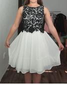 Krémové šifónové šaty s krajkovým topom, veľ. 36,