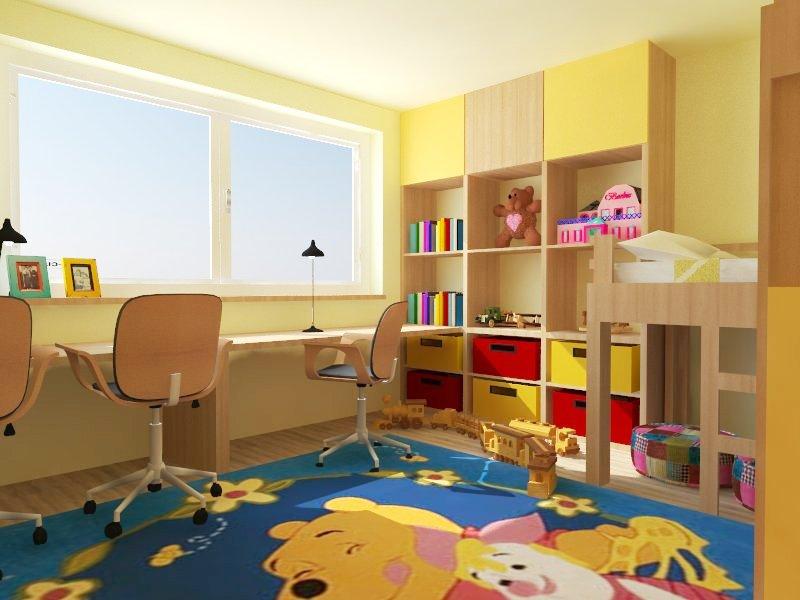 Môj návrh interiéru - realistické vizualizácie - Úložné priestory sú navrhnuté tak, aby každé dieťa malo rovnako veľký priestor :-)