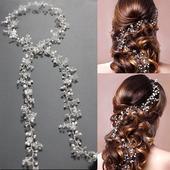 Svatební ozdoba do vlasů 50 cm,