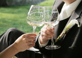 umelecký detail pohárov
