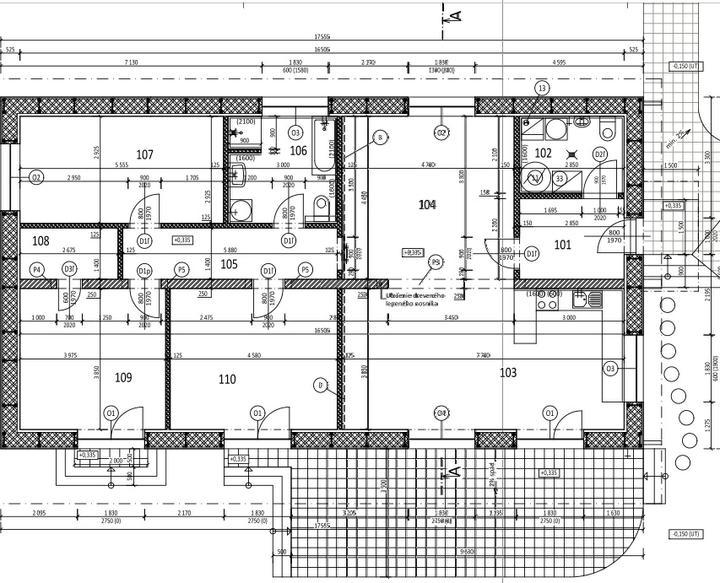 Náš dom :) - 101-vstupná chodba, 2-technická+wc, 3-kuchyňa s obyvkou, 4-pracovňa a jedáleň, 5-chodba, 6-kúpelňa s wc, 7-izba starká, 8-šatník, 9-spálňa, 10-detská izba