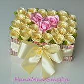Luxusné ivory  ruže  v boxe-krabici,