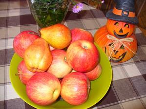 včera sme oberali jablká, hrušiek bolo málo