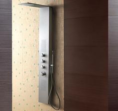 Hydromasážny sprchový panel Aquatek Dubai hliníkový matný chrómový