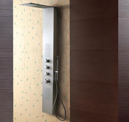 Kupelka a všetko čo k nej patri - Hydromasážny sprchový panel Aquatek Dubai hliníkový matný chrómový