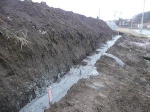 dnes zalitý základ zadního plotu