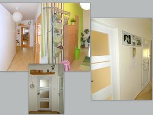 Příběh naší chodby-z bílé na zelenou,ze zelené zpět na bílo plus výměna buk.dveří za bílé...ještě nás čeká malování a výměna dekorací....
