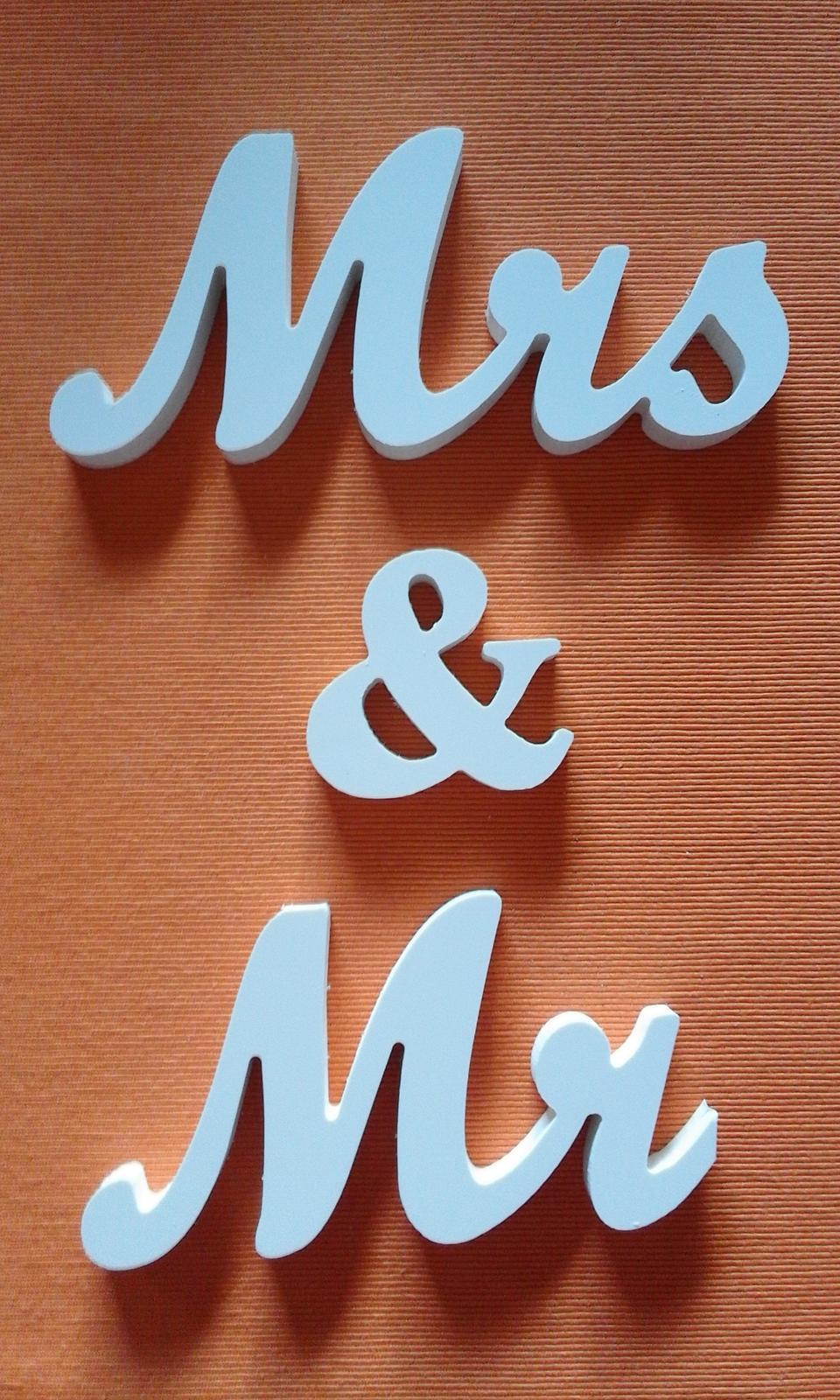 psací svatební písmenka Mr & Mrs  - Obrázek č. 1