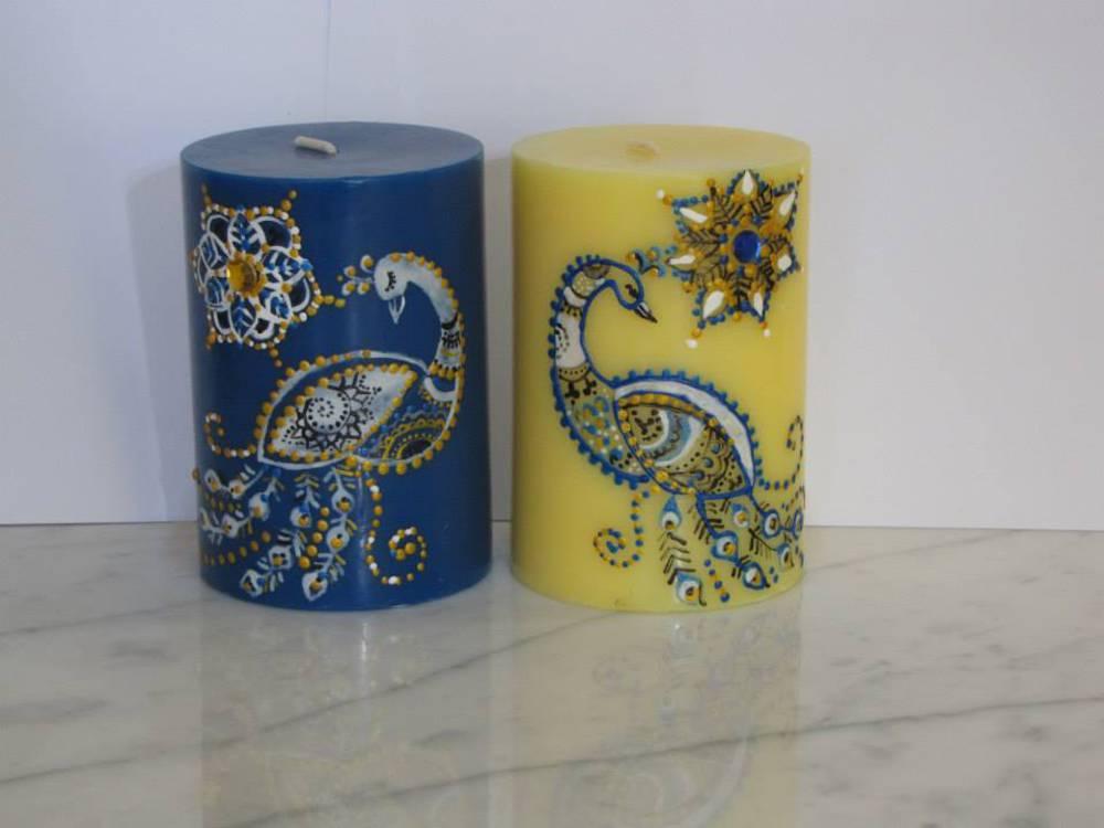 Inšpirácia-páv - darček pre hostí sviečky