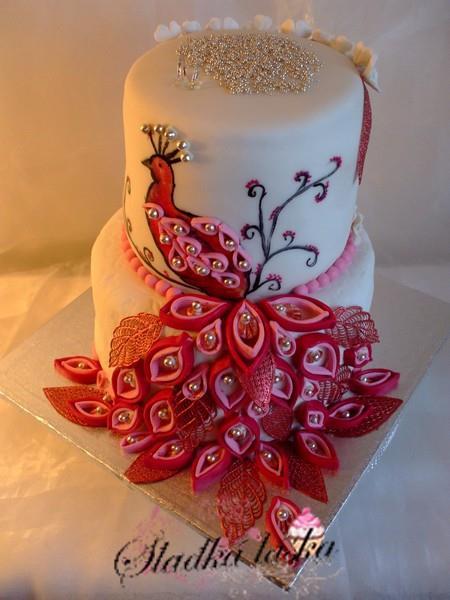 Inšpirácia-páv - torta
