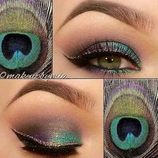 make-up inšpirovaný pávím pierkom