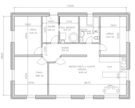 Vlastní návrh. priority: koupelna blizko ložnice a technické mistnosti, co nejméně roztahané chodby, samozřejmě správna orientace. spodní část je jih. kuchyn a ložnice na východ. příjezd ze severu. vše se odvíjelo od nosné zdi přesně ve středu domu