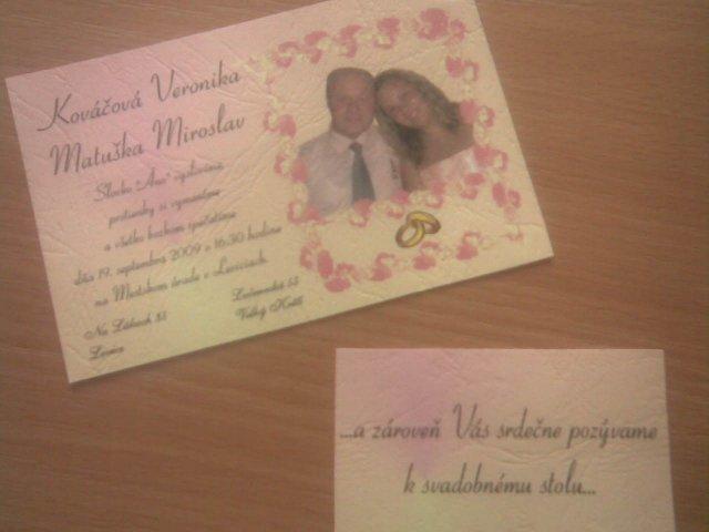 Veronika a Mirko, 19. 9. 2009 - tak a už máme oznámenie a pozvánky :o))