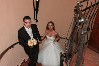 Znaveni...vydrželi jsme do páté hodiny ranní a v 8 h.začínala snídaně všech svatebčanů...