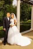 Princeznovské svatební šaty s vlečkou + spodnice, 38