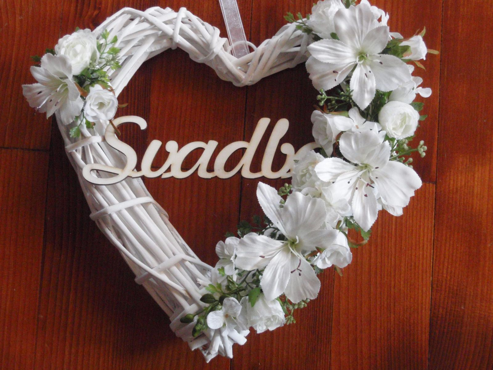 14. Srdce v bielom s nápisom Svadba - Obrázok č. 1