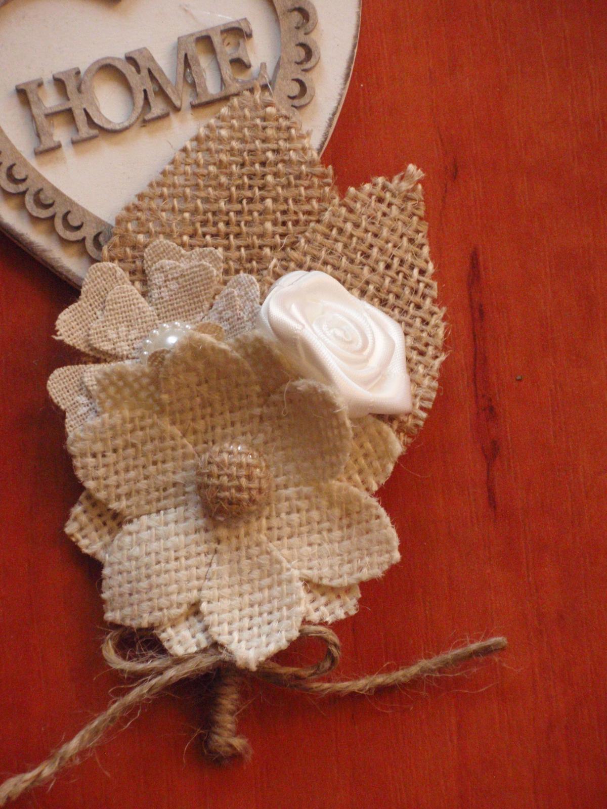 35. Vintage jutové pierko pre ženícha - Obrázok č. 1