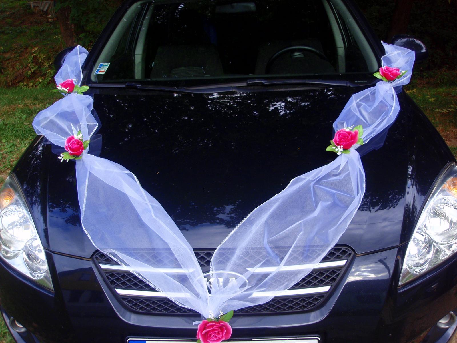 103. Výzdoba na auto z 5 ruží - viac farieb - Obrázok č. 1