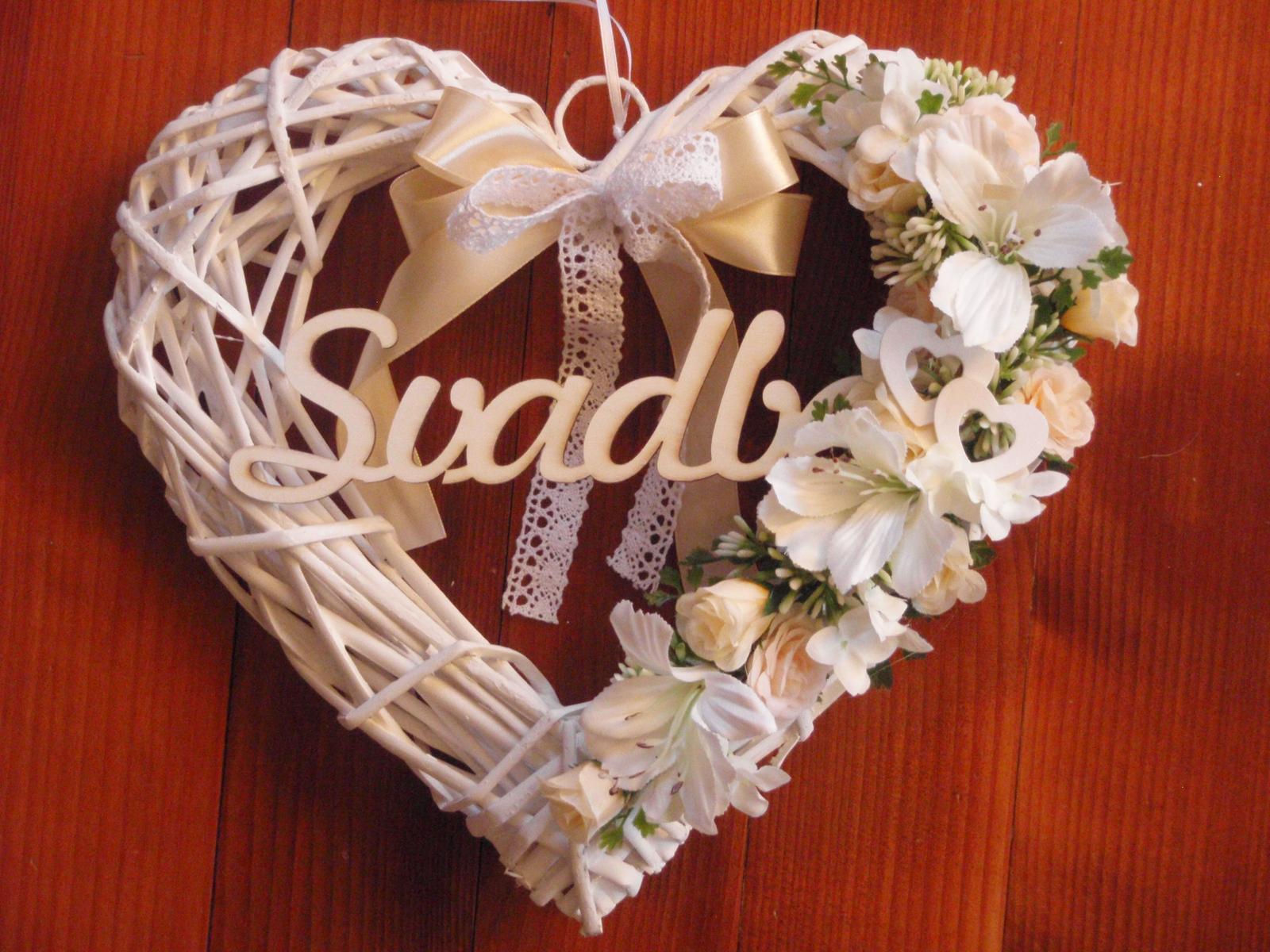 Č. 115 Marhuľkové srdce s nápisom Svadba - Obrázok č. 1