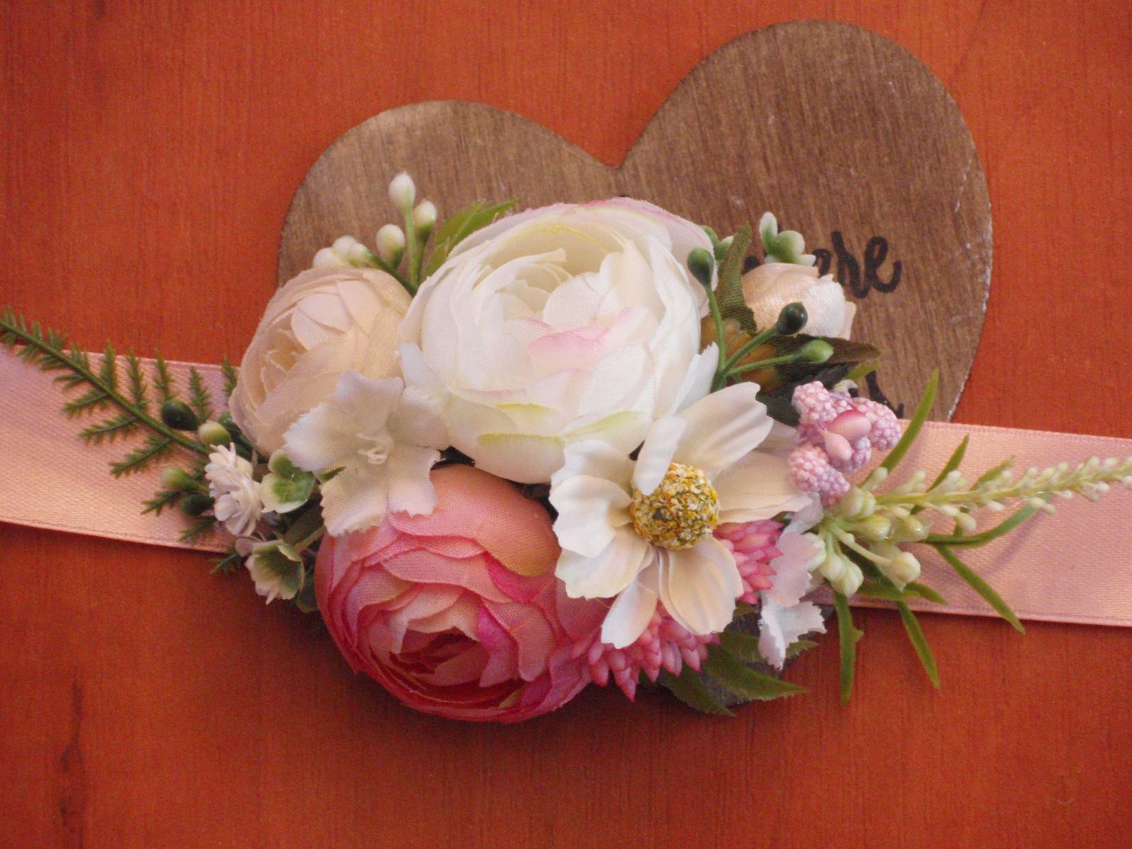 123. Kvetinový náramok - ružová, ivory a biela - Obrázok č. 1