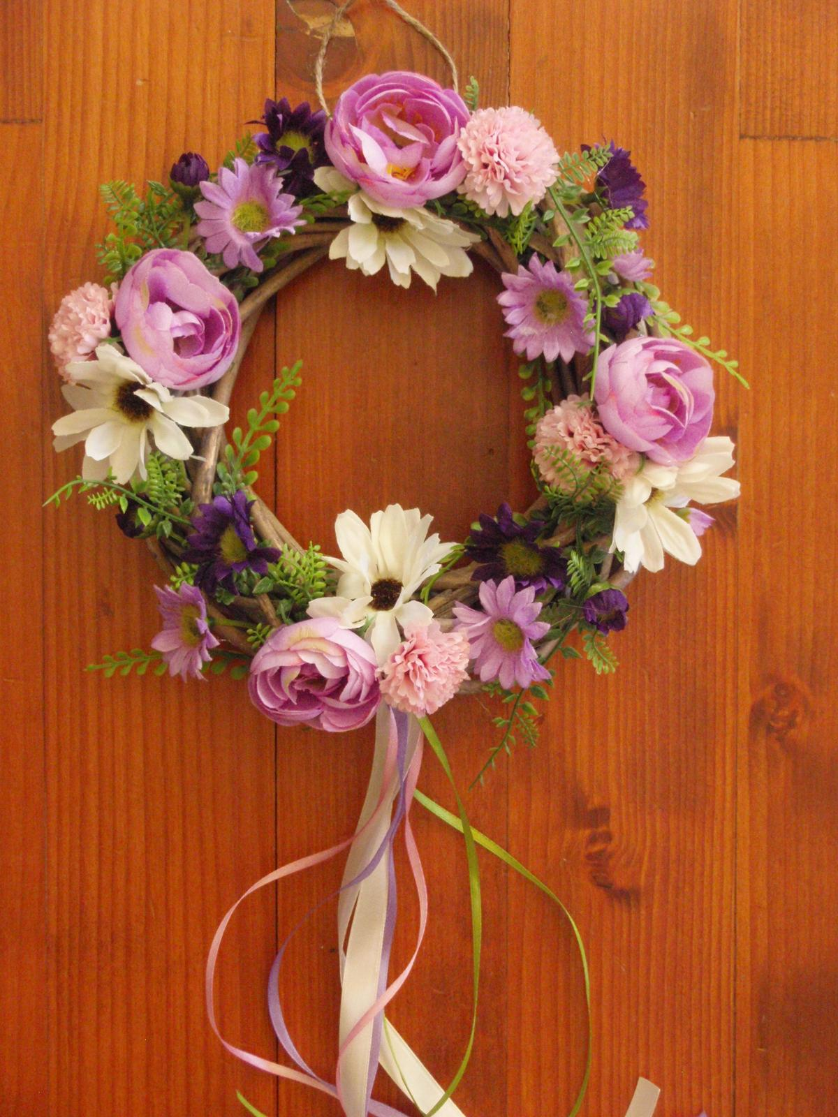 175. Fialkovo ružový venček so stuhami - Obrázok č. 1