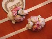177.Kvetinové náramky pink, ivory a cyklamen,