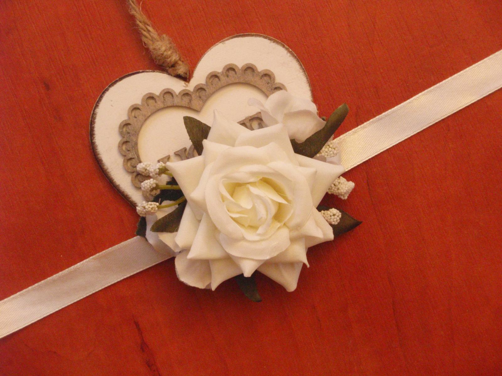 214. Kvetinový náramok - ivory ruža - Obrázok č. 1